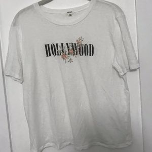 Cropped White 'Hollywood' T-Shirt